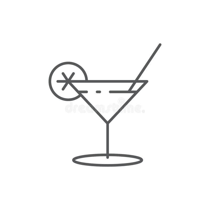 Alkoholcoctailen i martini exponeringsglas med citrus garnering och sugrör - skissera den redigerbara symbolen av drycken royaltyfri illustrationer