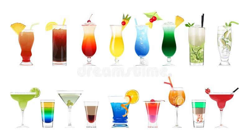 Alkoholcoctailuppsättning vektor illustrationer