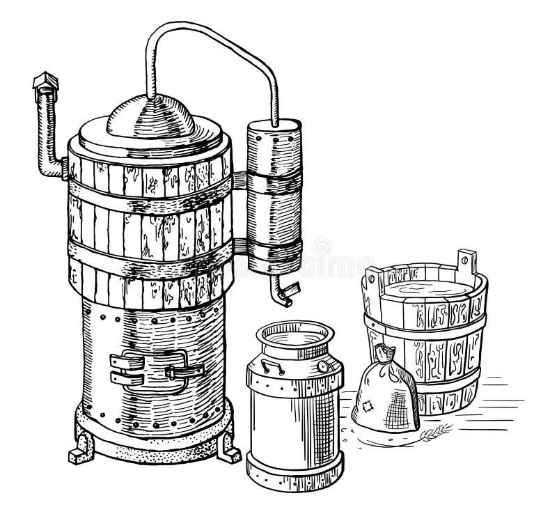 Alkoholdestillationsprozeß lizenzfreie abbildung