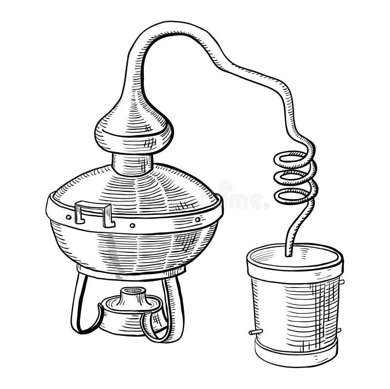 Alkoholdestillationsprozeß stock abbildung