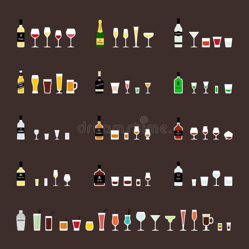 Alkoholdrinkar, flaskor och rekommenderade exponeringsglas Vektorsymbolsuppsättning i plan stil royaltyfri illustrationer