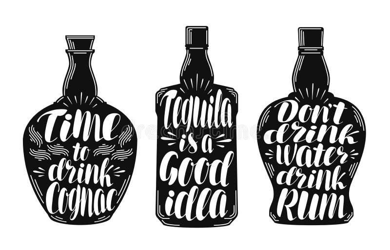 Alkoholdrycker etikettuppsättning för stark drink Flaska, rom, konjak, tequilasymbol eller logo Bokstäver kalligrafivektor royaltyfri illustrationer