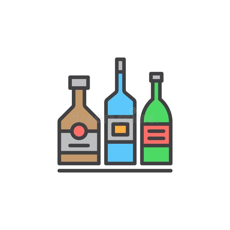 Alkoholdryckflaskor fodrar symbolen, det fyllda översiktsvektortecknet, den linjära färgrika pictogramen som isoleras på vit royaltyfri illustrationer