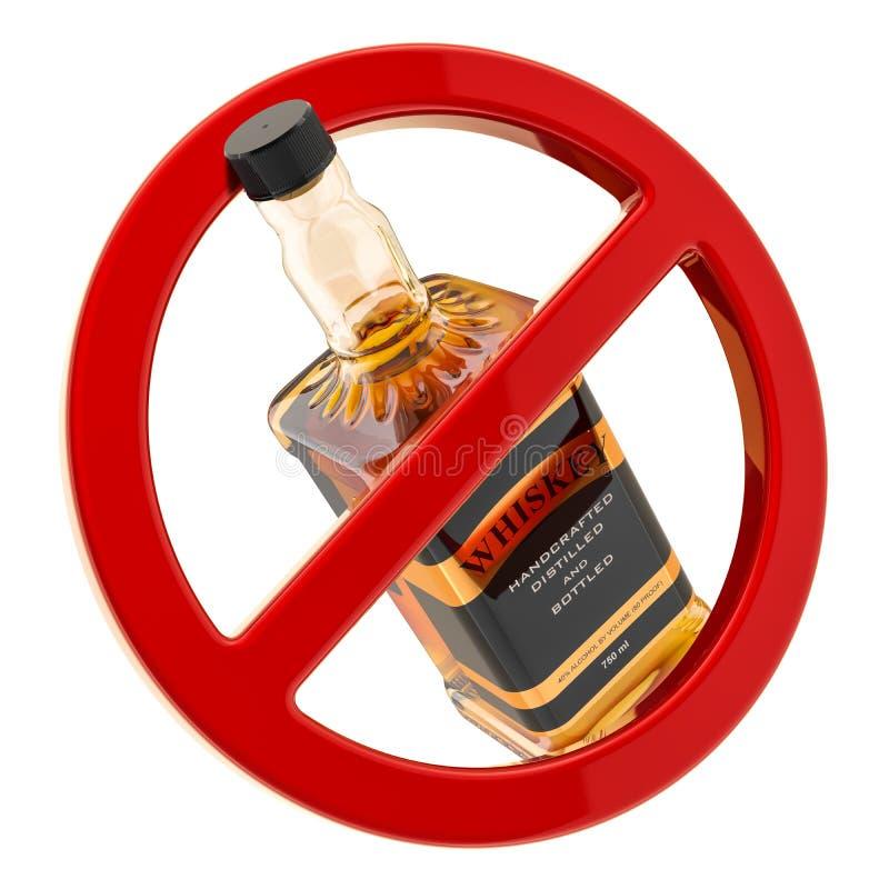 Alkoholförbudbegrepp Flaska av whisky inom det förbjudna tecknet, tolkning 3D royaltyfri illustrationer