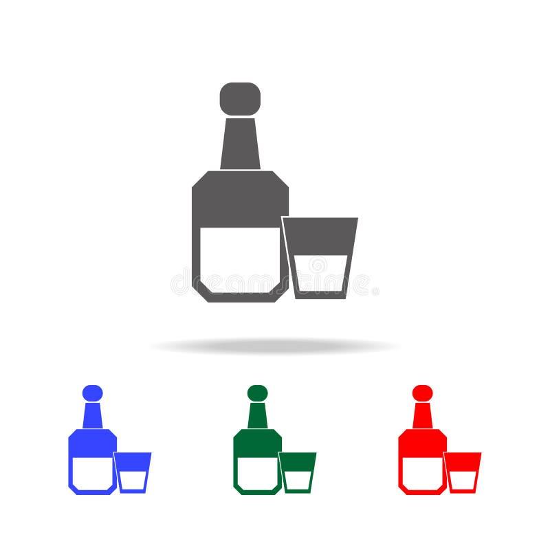 Alkoholflasche mit Glasikone Elemente von menschlichen multi farbigen Ikonen der Schwäche und der Suchts Erstklassige Qualitätsgr lizenzfreie abbildung