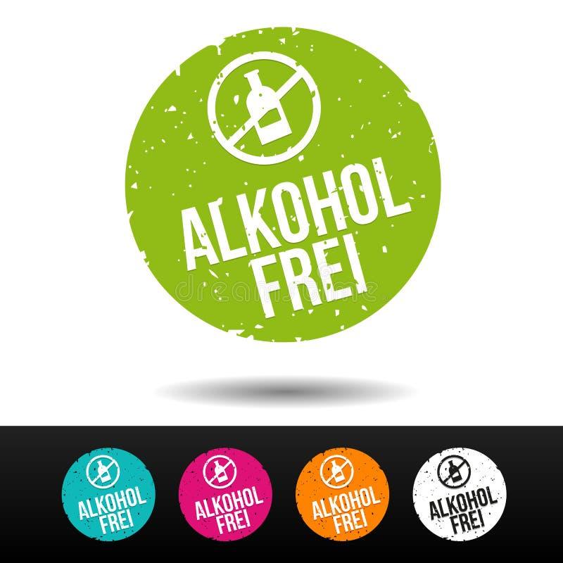 Alkoholfrei Stempel mit-symbol - knapp för Eps10 Vektor stock illustrationer