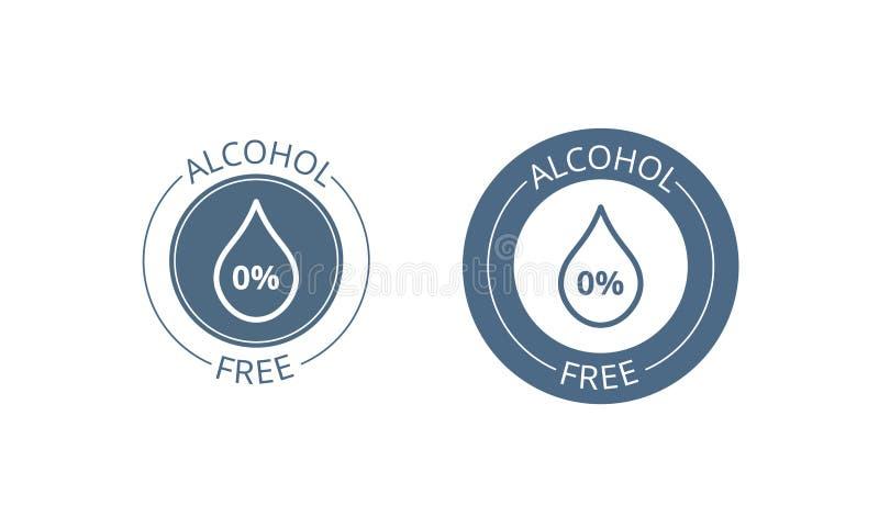 Alkoholfreier Ikonensatz Rückgangs- und Prozentsymbol des kosmetischen Produktes der Haut und der Körperpflege medizinisches alko vektor abbildung