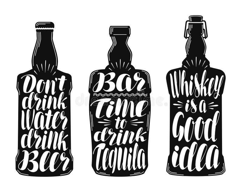 Alkoholgetränk, Getränkekennsatzfamilie Dekorative Elemente der Sammlung für Menürestaurant oder Kneipe, Bar beschriftung lizenzfreie abbildung
