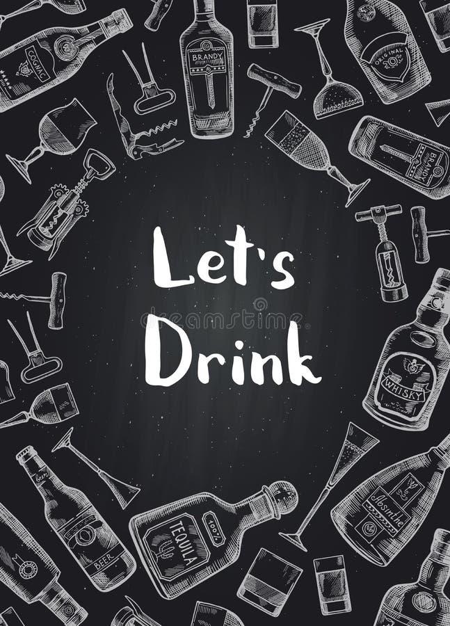Alkoholgetränkflaschen- und -glashintergrund des Vektors Hand gezeichneter auf schwarzer Tafelillustration lizenzfreie abbildung