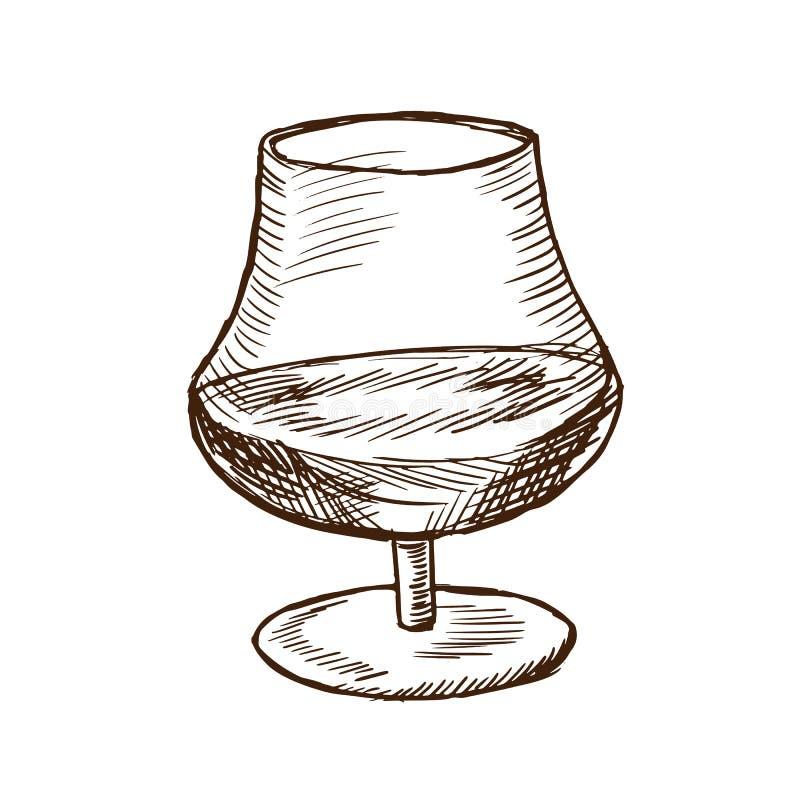 Alkoholiczka Armagnac, opierający się na białym winie w pięknym szklanym fouger, ilustracja wektor