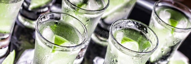 Alkoholiczka, koktajl, wapno, lód, ajerówka, dżin, tequila, czarny backg fotografia stock