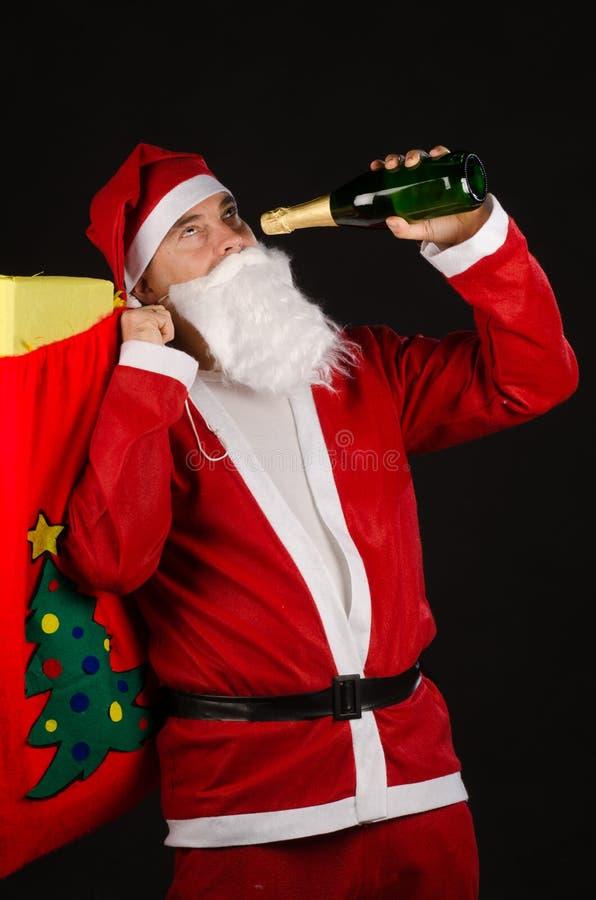 Alkoholiczka Santa fotografia royalty free