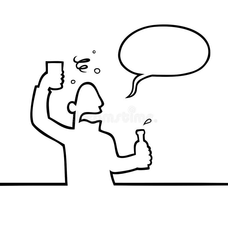 alkoholicznego napoju pijący mężczyzna royalty ilustracja