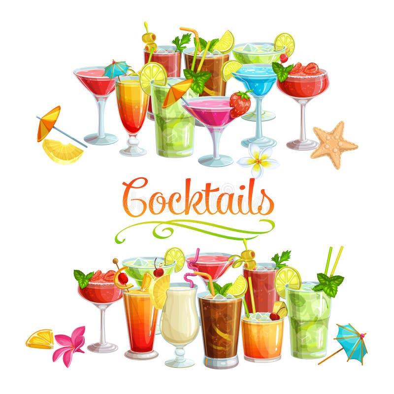 Alkoholiczni cocklails sztandary ilustracji