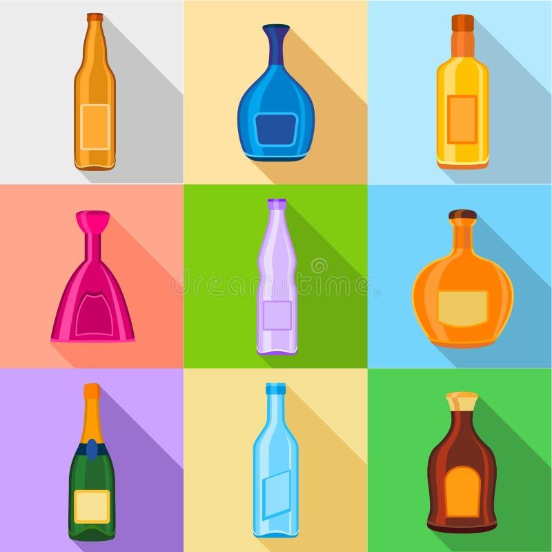 Alkoholiczni napoje butelkują ikony ustawiać, mieszkanie styl ilustracja wektor
