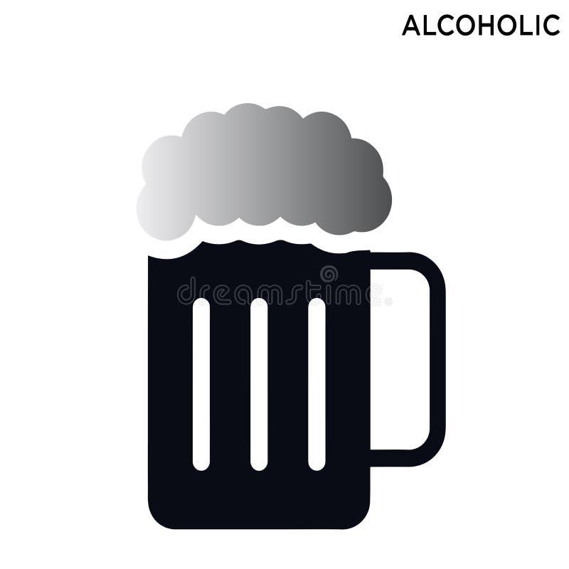Alkoholiczny ikona symbol odizolowywający na białym tle royalty ilustracja