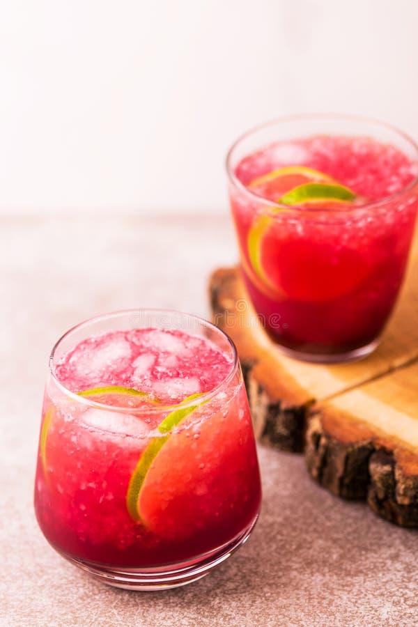 Alkoholiczny koktajl kwaśnej wiśni dżin lub ganeczka śpioszek lemoniada obrazy royalty free