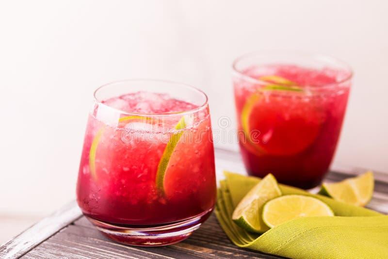 Alkoholiczny koktajl kwaśnej wiśni dżin lub ganeczka śpioszek lemoniada obraz stock
