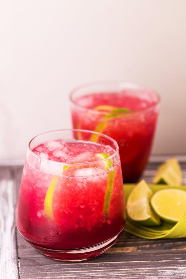 Alkoholiczny koktajl kwaśnej wiśni dżin lub ganeczka śpioszek lemoniada fotografia royalty free