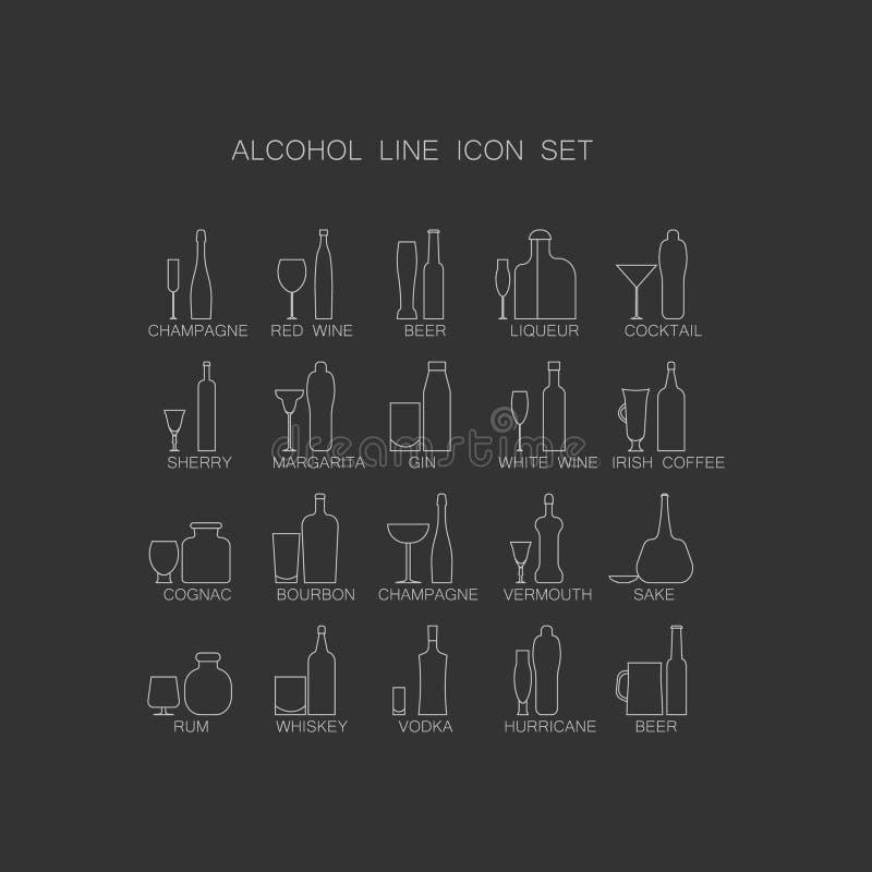 Alkoholicznych napojów ikony set ilustracja wektor