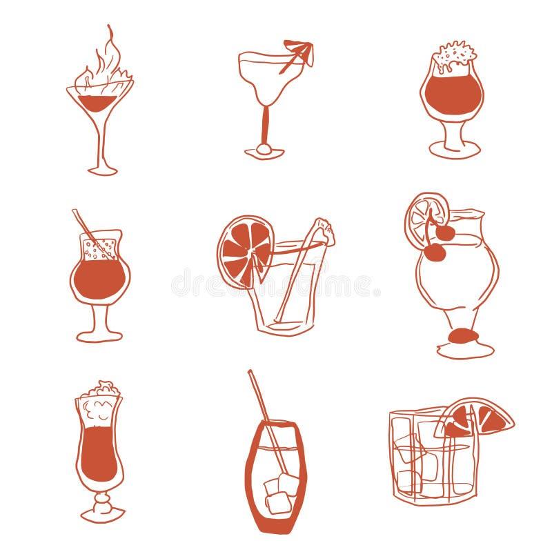 Alkoholicznych napojów wybór prosty wizerunku doodle royalty ilustracja