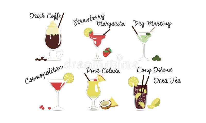 Alkoholische Cocktails stellten, Irishcoffee, Erdbeeremargarita, trockener Martini ein, kosmopolitisch, Pina-colada, das Long Isl lizenzfreie abbildung