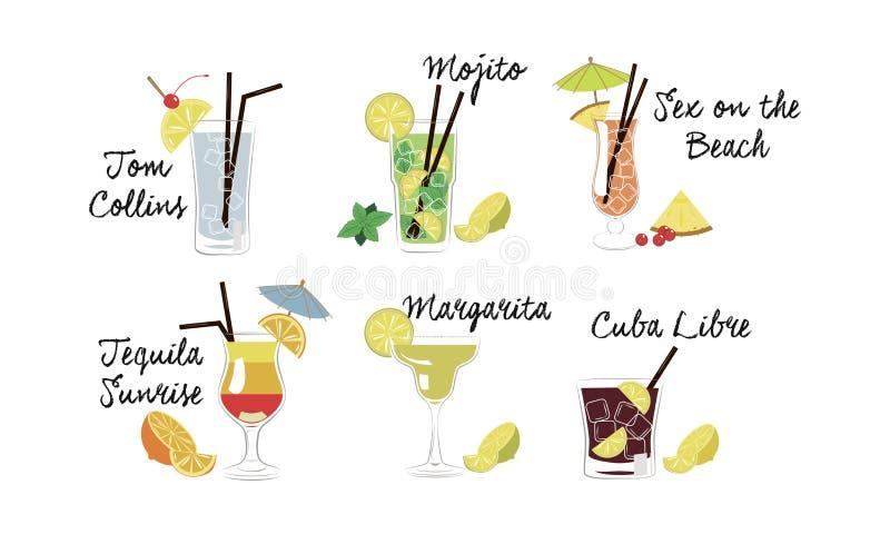 Alkoholische Cocktails stellten, Tom Collins, Mojito, Sex auf dem Strand, Tequilasonnenaufgang, Margarita, Kuba-libre Vektor ein vektor abbildung