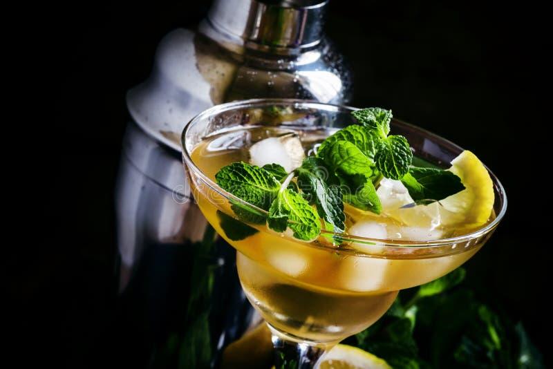 Alkoholischer Cocktail Daiquiri mit Zitrone und Minze, dunkler Hintergrund lizenzfreies stockfoto
