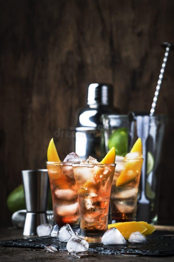 Alkoholischer Cocktail mit Mango, Cranberries, Kalkeis, zerdrücktem Eis und Likor, dunkelhölzerne Bartheke Hintergrund, selektive stockfotografie