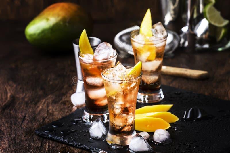 Alkoholischer Cocktail mit Mango, Cranberries, Kalkeis, zerdrücktem Eis und Likor, dunkelhölzerne Bartheke Hintergrund, selektive lizenzfreie stockfotos