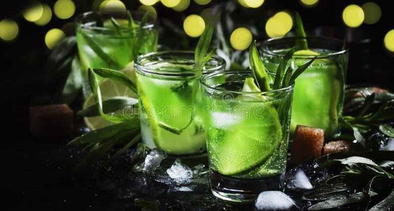 Alkoholisches Cocktail mit Lindgrün, Zitronensaft, Rohrzucker, Soda, zerquetschtem Eis und Estragonblättern, schwarzer Hintergrun stockfoto
