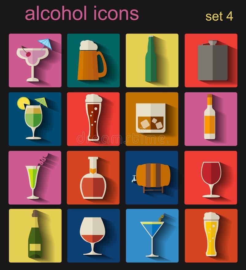 Alkoholisches Getränk trinkt Ikonen 16 flache Ikonen eingestellt lizenzfreie abbildung
