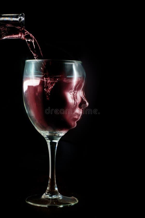 Alkoholisches Wein-Sucht-Konzept stockfoto