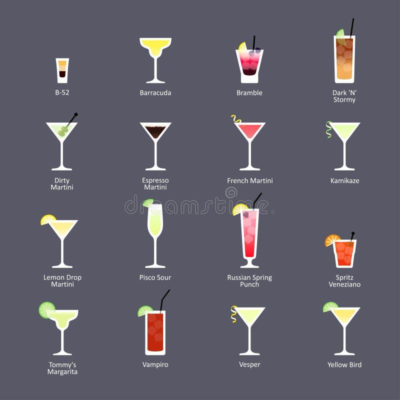 Alkoholiserade coctailar, era för officiella coctailar för IBA ny dricker Symboler ställde in i plan stil på mörk bakgrund stock illustrationer