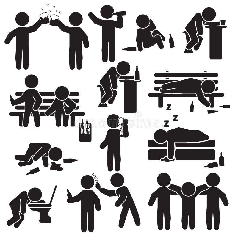 Alkoholism, partiet och folket som dricker symbolen, ställde in vektor royaltyfri illustrationer