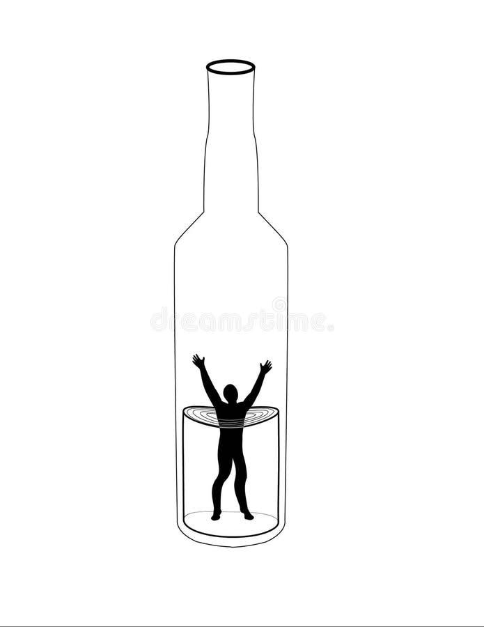 Alkoholismus lizenzfreie abbildung