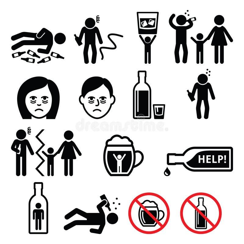 Alkoholismus, getrunkener Mann, Alkoholsuchtikonen stock abbildung