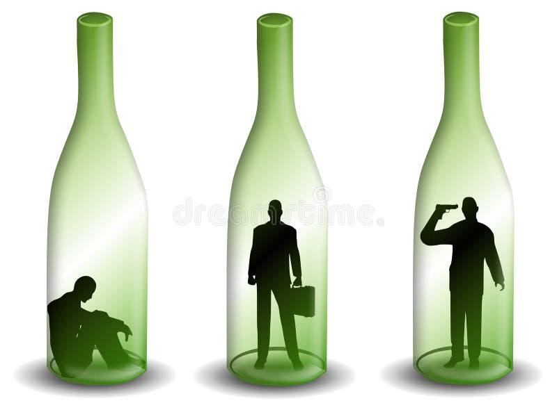 Alkoholismus-Mann in einer Wein-Flasche vektor abbildung