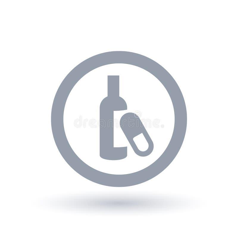 Alkoholizm i lek na receptę nałogu ikona ilustracji