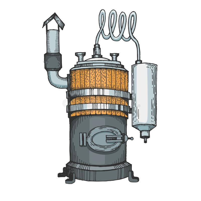 Alkoholmaschinenfarbskizzen-Stichvektor lizenzfreie abbildung