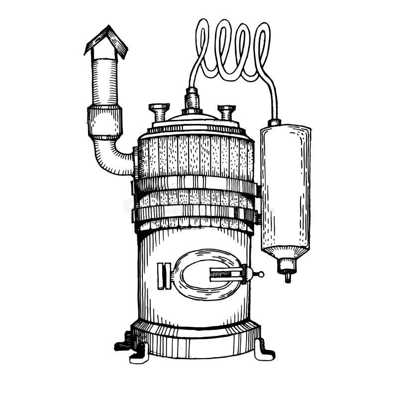 Alkoholmaschinenstich-Vektorillustration stock abbildung