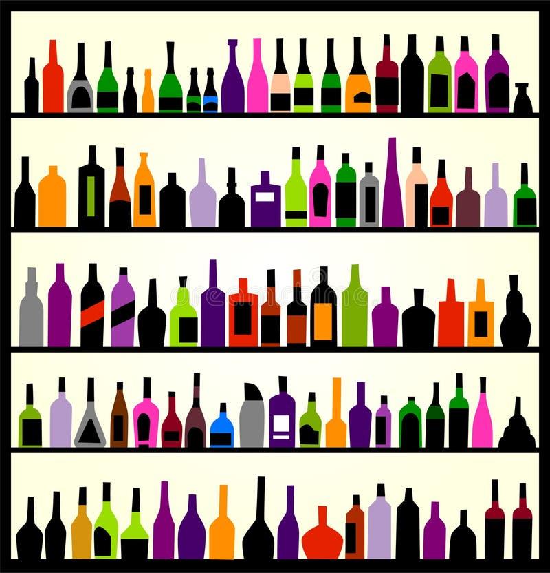 alkoholu butelek ściana ilustracji