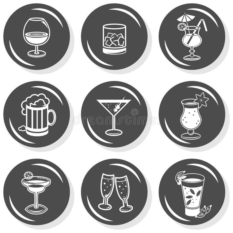 Alkoholu guzika partyjny monochromatyczny set ilustracja wektor