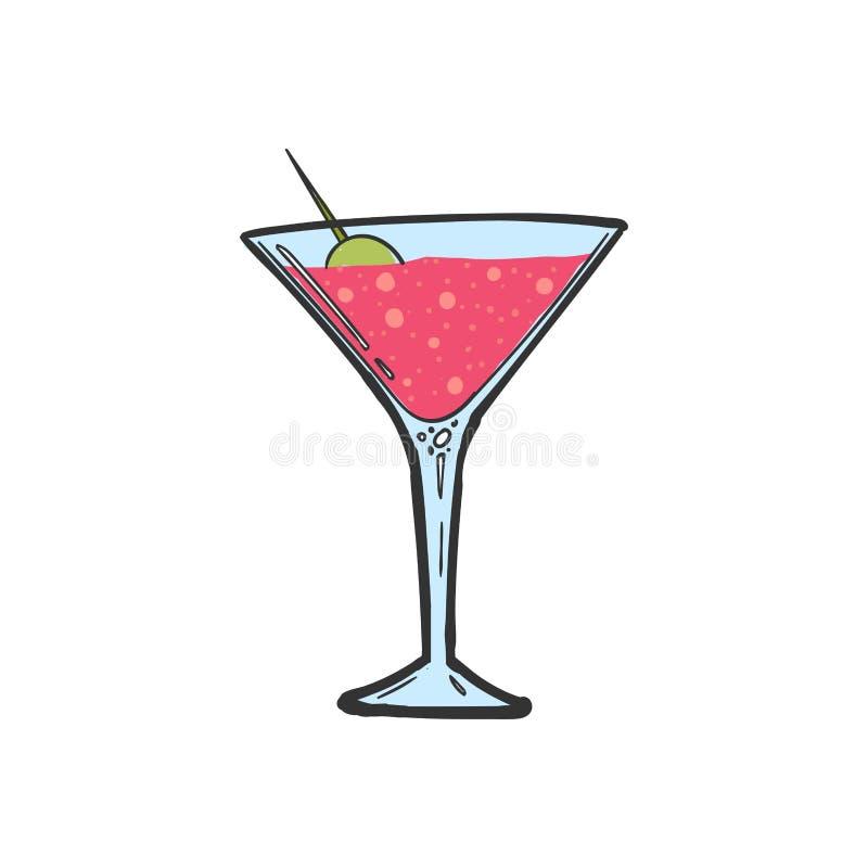 Alkoholu koktajl Alkoholu odświeżenia napój Prętowy menu ilustracja wektor