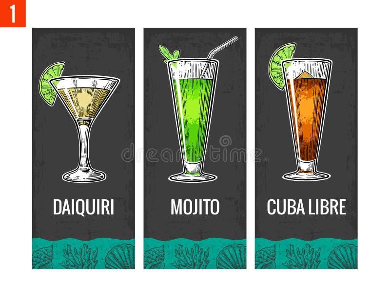 Alkoholu koktajlu set Daiquiri, mojito, Cuba libre Rocznika rytownictwa wektorowa ilustracja dla sieci, plakat, menu, zaproszenie royalty ilustracja