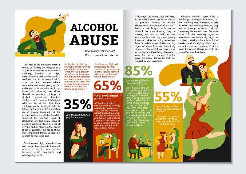Alkoholu nałogu magazynu układ ilustracji