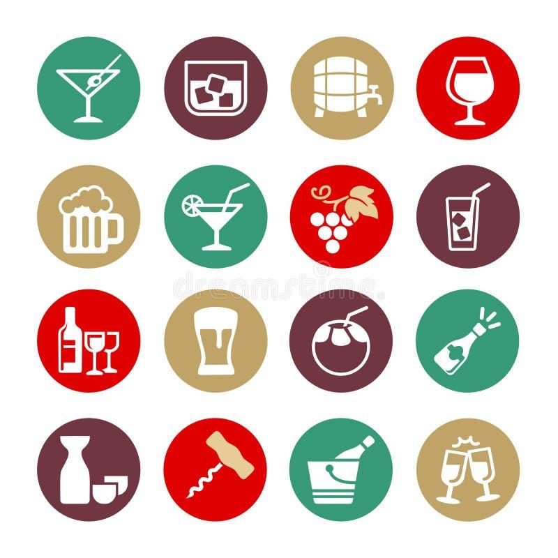 Alkoholu napój - sieci ikony set ilustracji