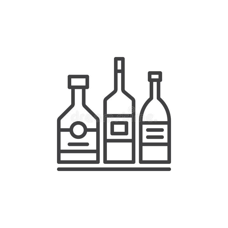 Alkoholu napoju butelek kreskowa ikona, konturu wektoru znak, liniowy piktogram odizolowywający na bielu ilustracji