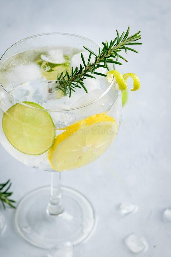 Alkoholu napoju dżinu toniki koktajl z cytryną, wapnem, rozmarynami i lodem na lekkim tle, kopii przestrzeń Lukrowy napój obrazy royalty free