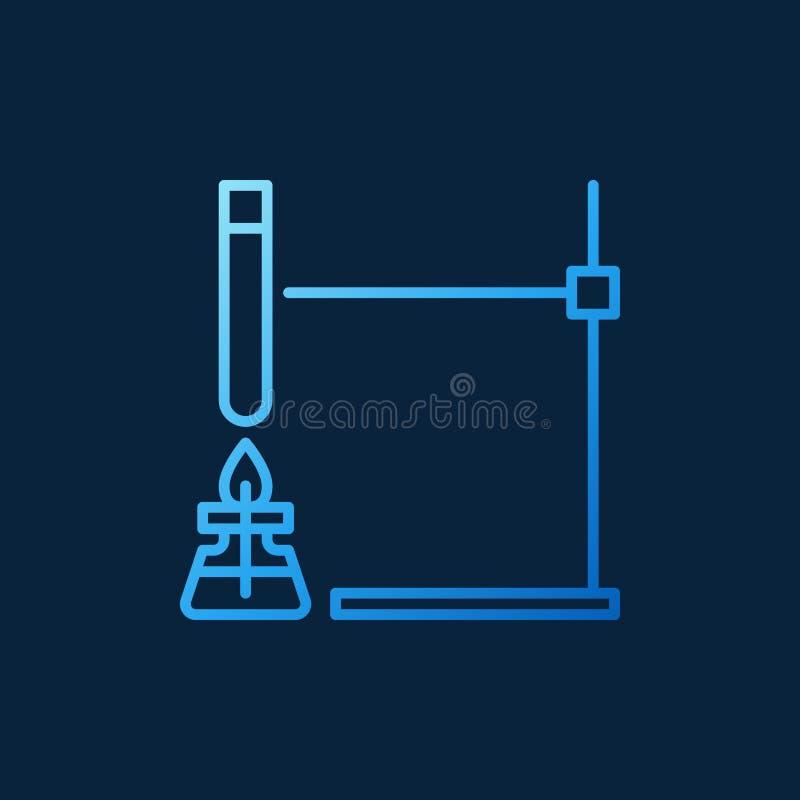 Alkoholu palnik z próbnej tubki konturu pojęcia wektoru błękitną ikoną royalty ilustracja